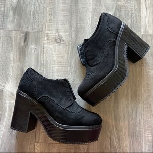 Shoes - Black Faux Suede Platform Oxford Heels